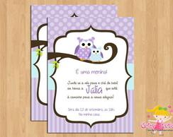 Convite Ch� de Beb� Corujinha Lil�s