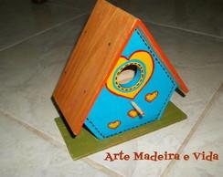 Mini-Casa de passarinho azul cora��o