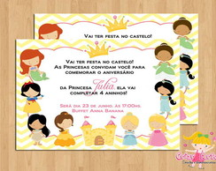 Convite Princesas Disney - Mod.4