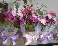 Mini vasinho de mini flores Rosa & Lilas