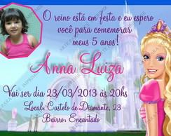 Arte de Convite Barbie Castelo com foto