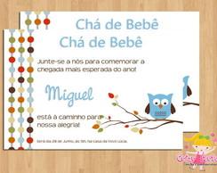 Convite Ch� de Beb� Corujinhas mod.3