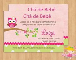 Convite Ch� de Beb� Corujinha Menina