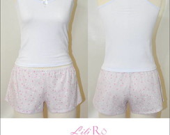 Pijama Regata e shorts estampado rosa