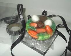 Sabonete meia esfera ovos e cenouras