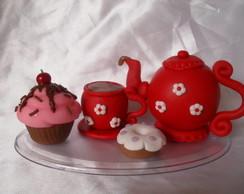 Topo de bolo ch� de cozinha vermelho