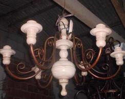 Ca807 - Lustre Em Ferro E Madeira 6 Lamp