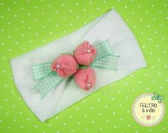 Faixa de meia de seda com tulipas