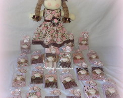 Kit  boneca +20 bloquinhos marrom  rosa