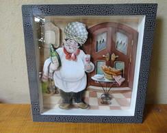 Quadro/Rel�gio Cozinheiro Arte Francesa