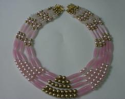 maxi colar rosa e dourado