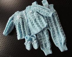 conjunto para beb� em tricot a m�o,