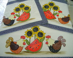 Tapetes para Cozinha -Galinhas/Girassol