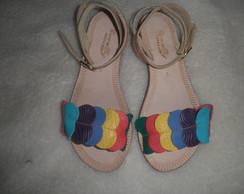 Sand�lia rasteirinha em couro colorida
