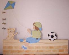 Painel de madeira menino com pipa