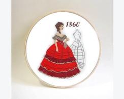 Quadro Hist�ria da Moda Traje de 1860