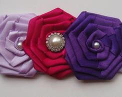 Headband Renda e Flores Rosette