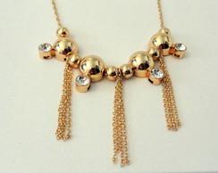 10162- Colar Luxo Franjas Dourado