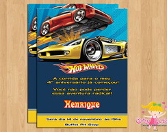 Convite Hot Wheels Azul