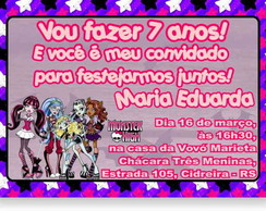 Monster High Convite Anivers�rio