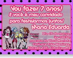 Monster High Convite Anivers�rio