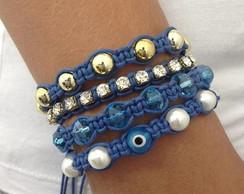 Kit Pulseira Olho Grego azul royal