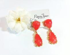 Brinco Dourado Chatons Coral