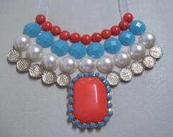 maxi colar coral e turquesa VENDIDO