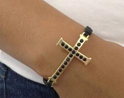 Shambala crucifixo dourado c/ strass jet