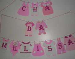 Varal De Roupinhas De Beb� rosa e branco