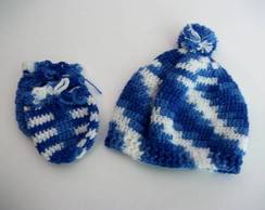 Kit Touca  E Luva Beb�  'azul mesclado '