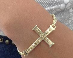 Pulseira Crucifixo Com Corrente Dourada