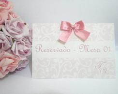 Placa Reservado Rosa com arabescos