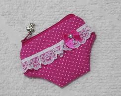 P-n�quel Calcinha Pink mini po� branco