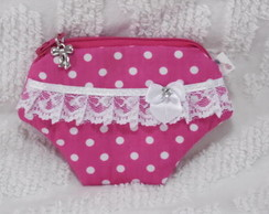 Porta-n�quel Calcinha Pink po� Branco