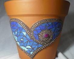 Vaso de cer�mica Cora��o azul