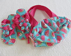 chinelo customizado e bolsinha toalha