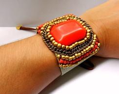 Bracelete Mi�angas Bordado - Laranja/Dou