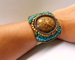 Bracelete Mi�angas Bordado - Turquesa/Ca