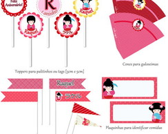 Kit Para Impress�o - Kokeshi Kawaii