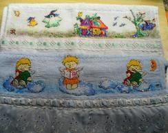 Toalha Lavabo com aplica��o em tecido