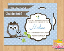 Convite Ch� de Beb� Corujinha Mam�e Beb�