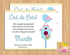 Convite Ch� de Beb� Passarinho Azul