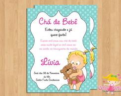 Convite Ch� de Beb� Menina Urso
