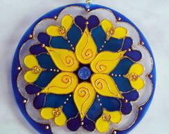 Mandala Azul e Amarela 15cm