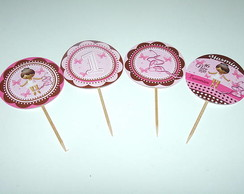 Totem para Cupcake Marrom E Rosa M&R
