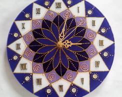 Rel�gio Mandala Vitral Violeta e Branco