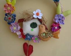 Guirlanda Flores e  casa passarinho