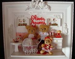 Porta maternidade Moldura Fam�lia Urso