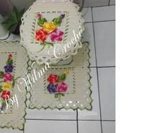 Jogo de banheiro com flores muiticolor